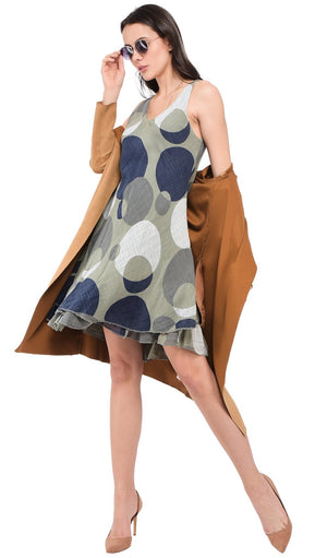 MID-LENGHT ROUND COLLAR DRESS WITH POLKA DOTS PRINTS AND DOUBLE-RUFFLES