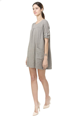 SHORT ROUND COLLAR DRESS WITH POCKETS AND LONG ATTACHABLE SLEEVES