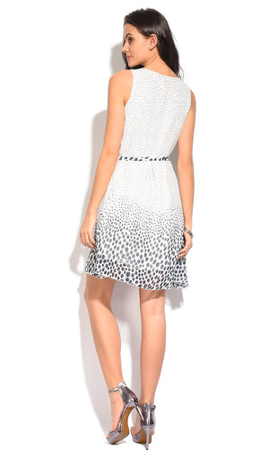 POLKA DOTS PRINTED DRESS WITH BELT