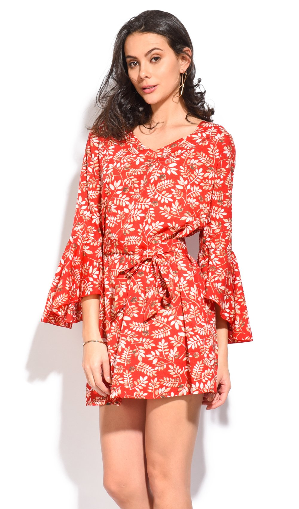 ROUND COLLAR SHORT DRESS WITH FLORAL PRINT AND BELT