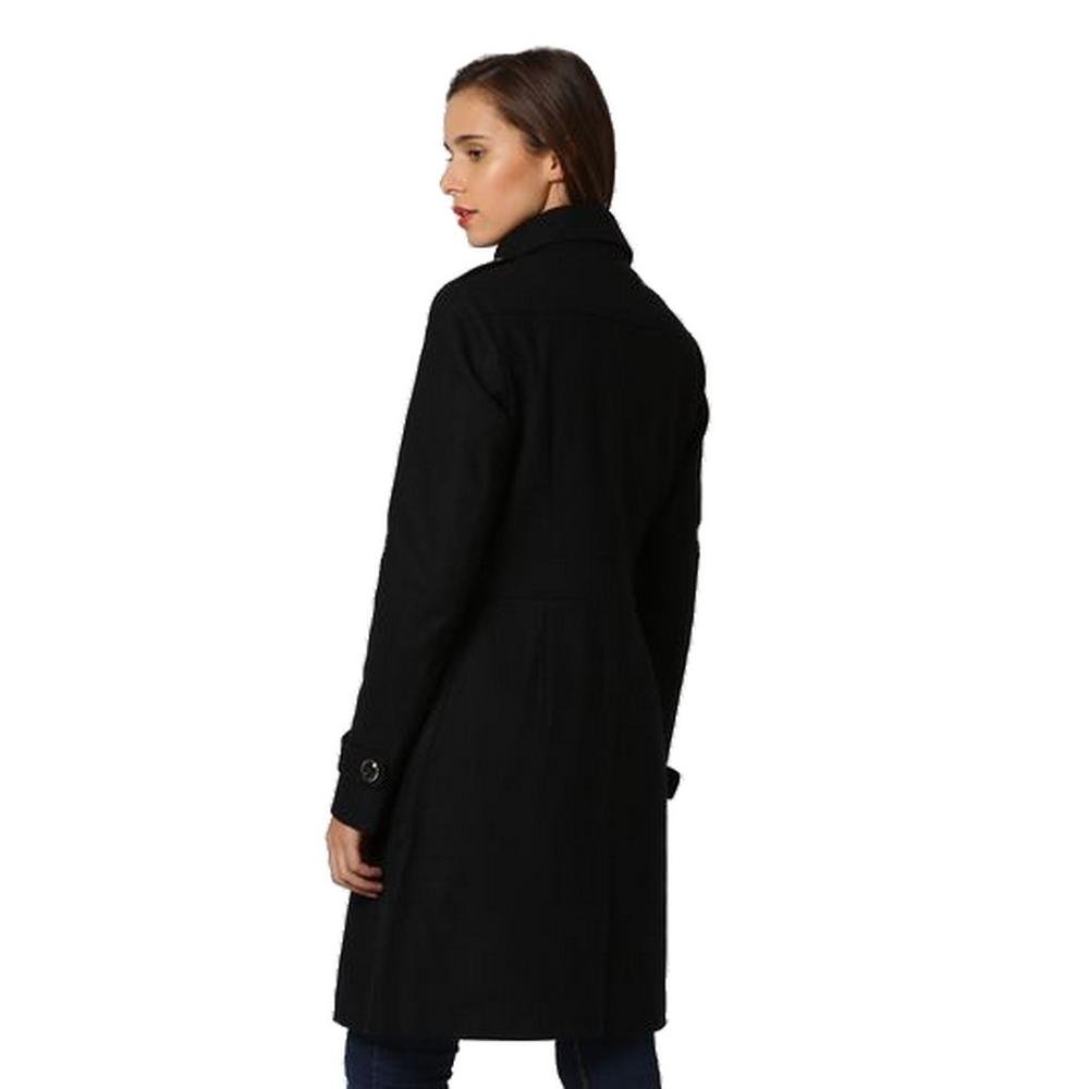 LONG COAT WITH SHOULDER PADS AND LEATHERETTE CLOSURE