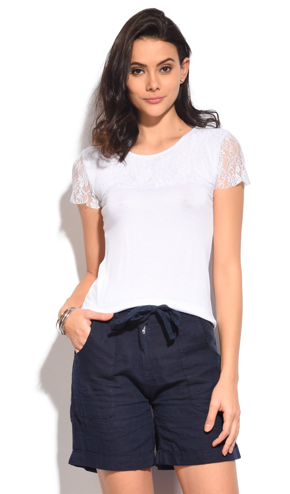 TOP WITH SHOULDERS LACE INSERT