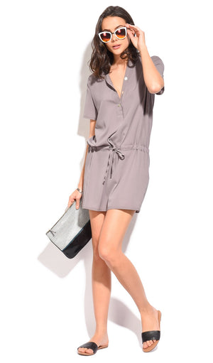 CREPE BLOUSE DRESS WITH BUTTONS AND BELT