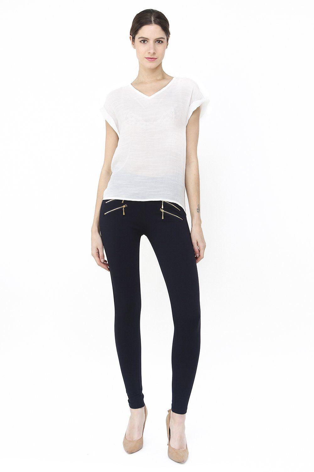 SLIM FIT PANT WITH DOUBLE LATERAL ZIPS