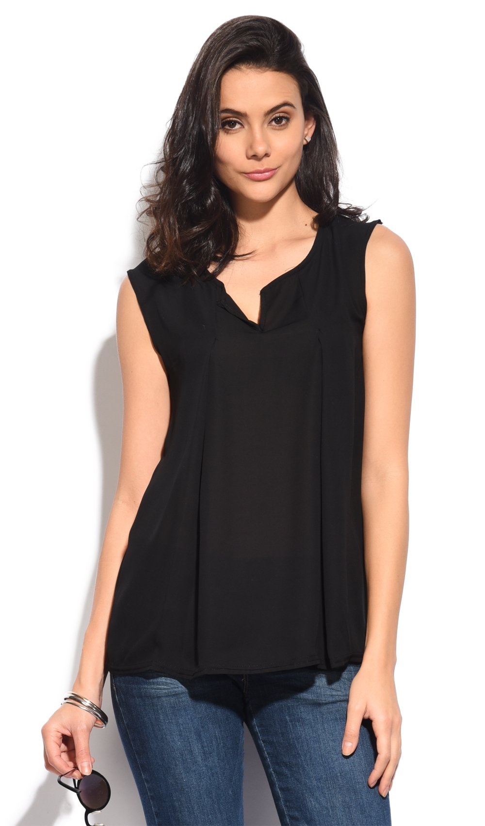 PLEATED SLEEVELESS TOP