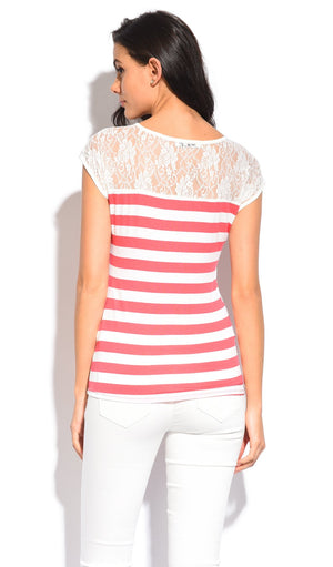 SAILOR TOP WITH BACK LACE INSERT