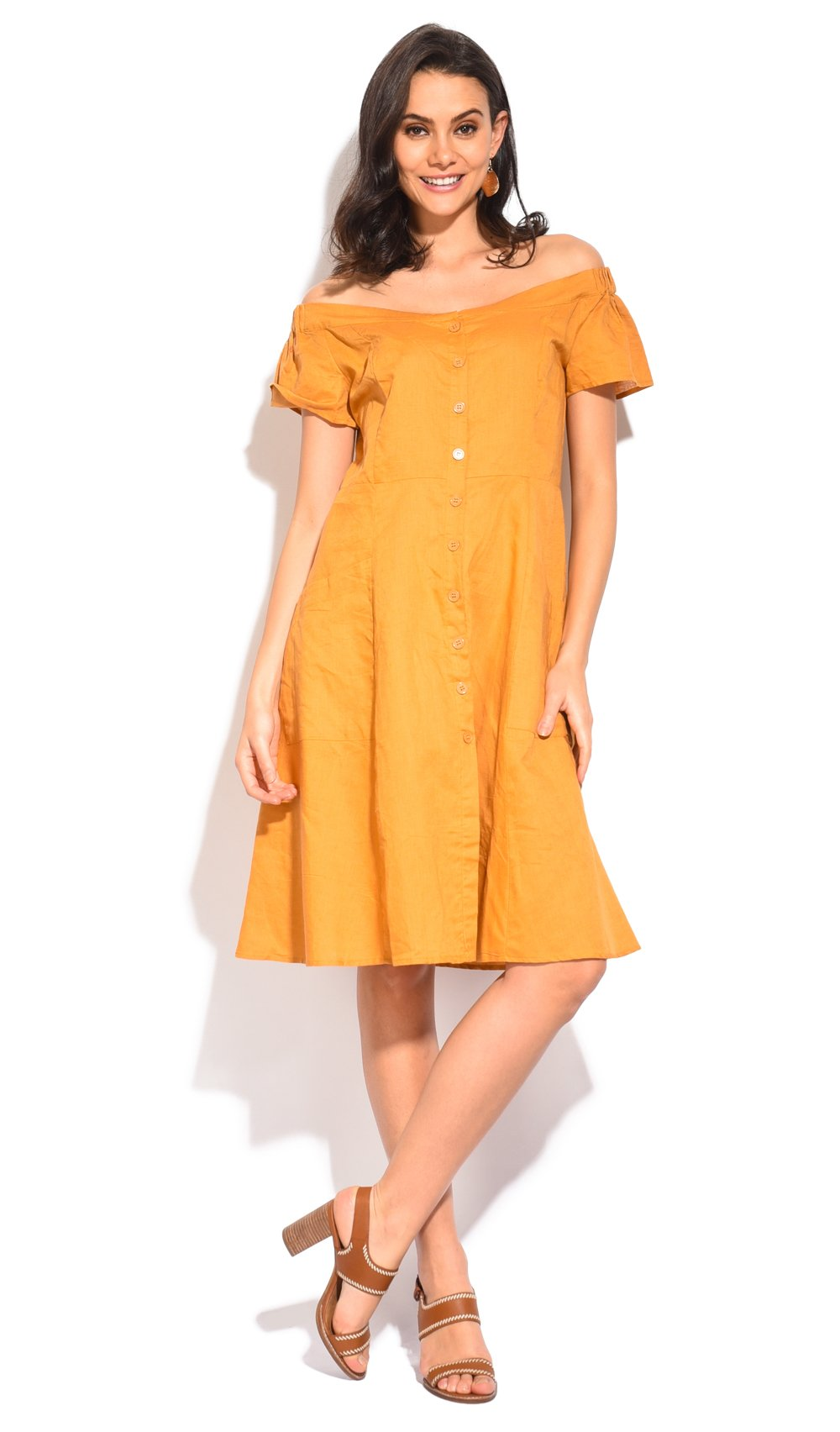 MID-LENGHT BUTTONNED BLOUSE DRESS WITH BOAT COLLAR