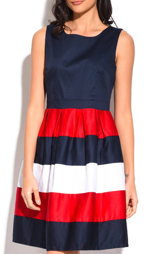 MID-LENGHT TRI-COLORS DRESS WITH ROUND COLLAR AND PLEATED AT THE BOTTOM