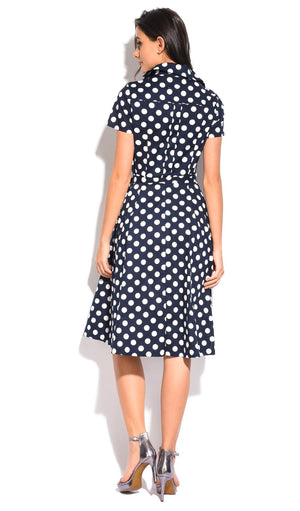 LONG BUTTONED DRESS WITH SHIRT COLLAR AND POLKA DOTS PRINT