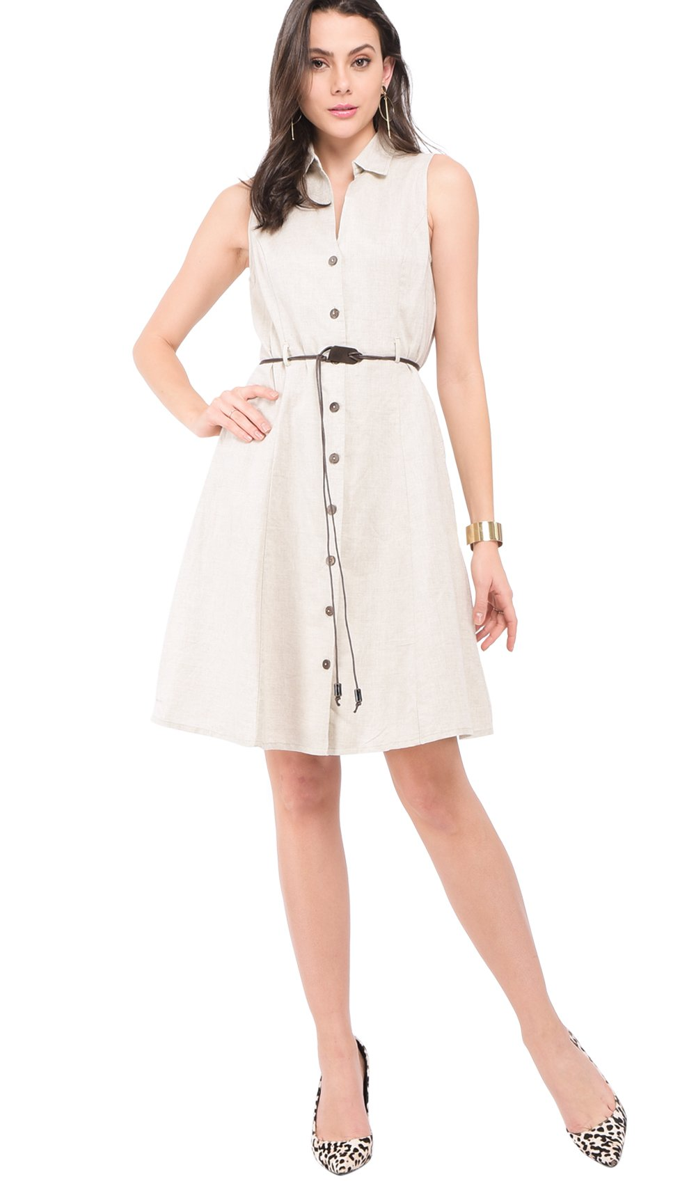 MID-LENGHT BUTTONNED DRESS WITH SHIRT COLLAR AND BELT