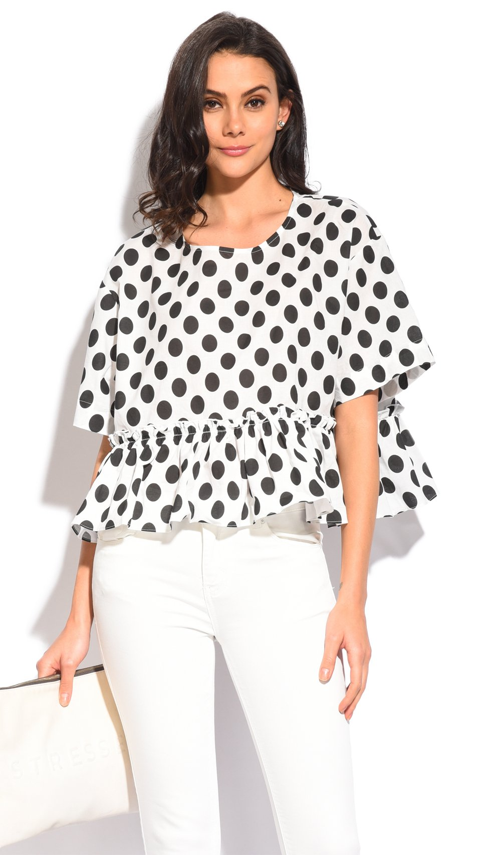 RUFFLED TOP WITH ROUND COLLAR AND POLKA DOTS PRINT