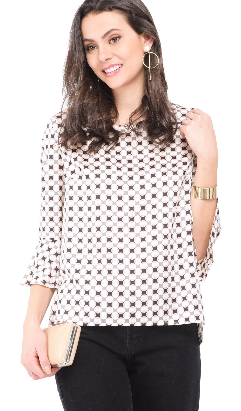 ROUND COLLAR TOP WITH PRINTED PATTERN AND RUFFLED SLEEVES