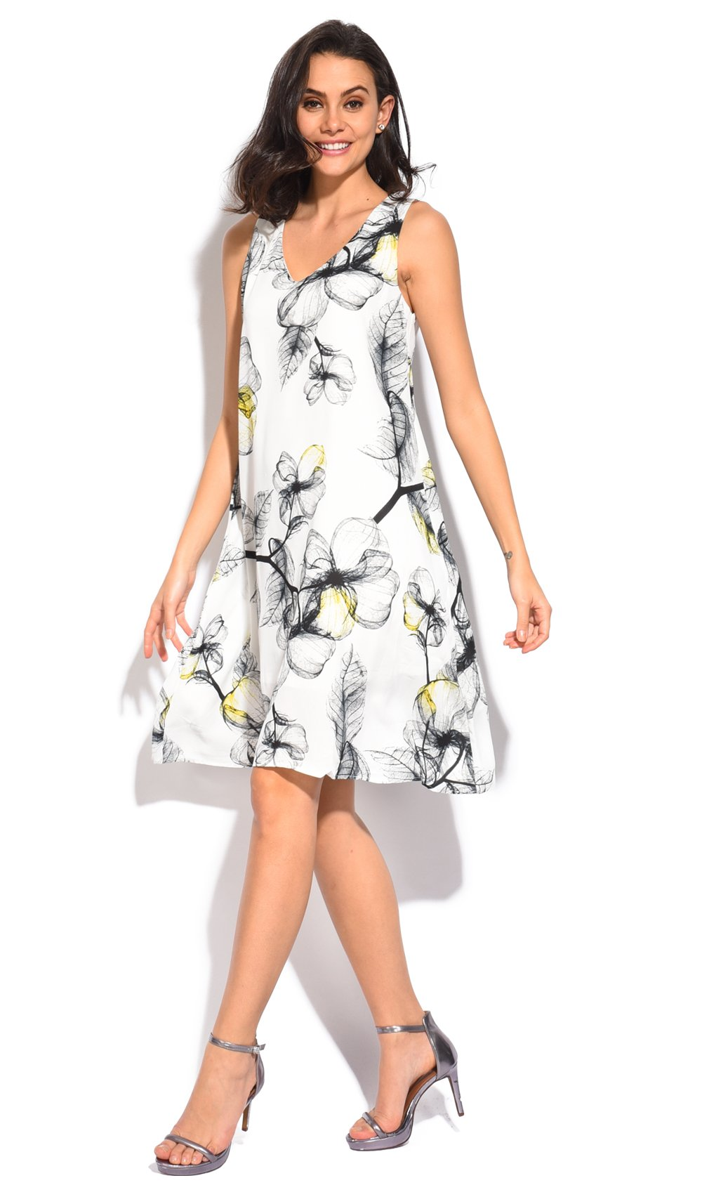MID-LENGHT DRESS WITH V-NECK AND BI-COLORS FLORAL PRINT