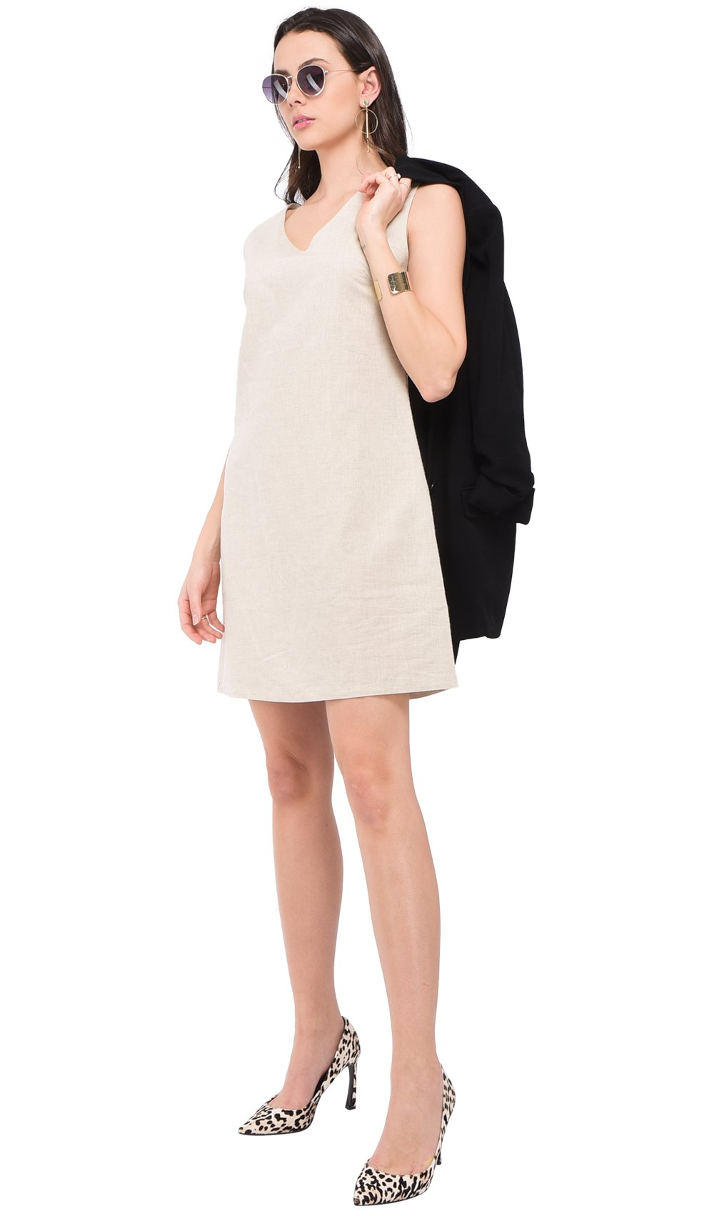 V-NECK SLEEVELESS DRESS WITH LATERAL ZIP