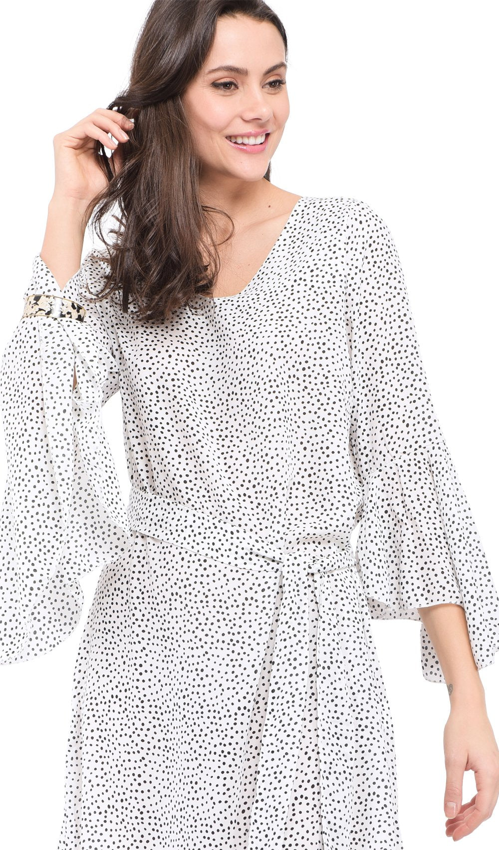 SHORT V-NECK DRESS WITH POLKA DOTS PRINT AND RUFFLED HALF-SLEEVES