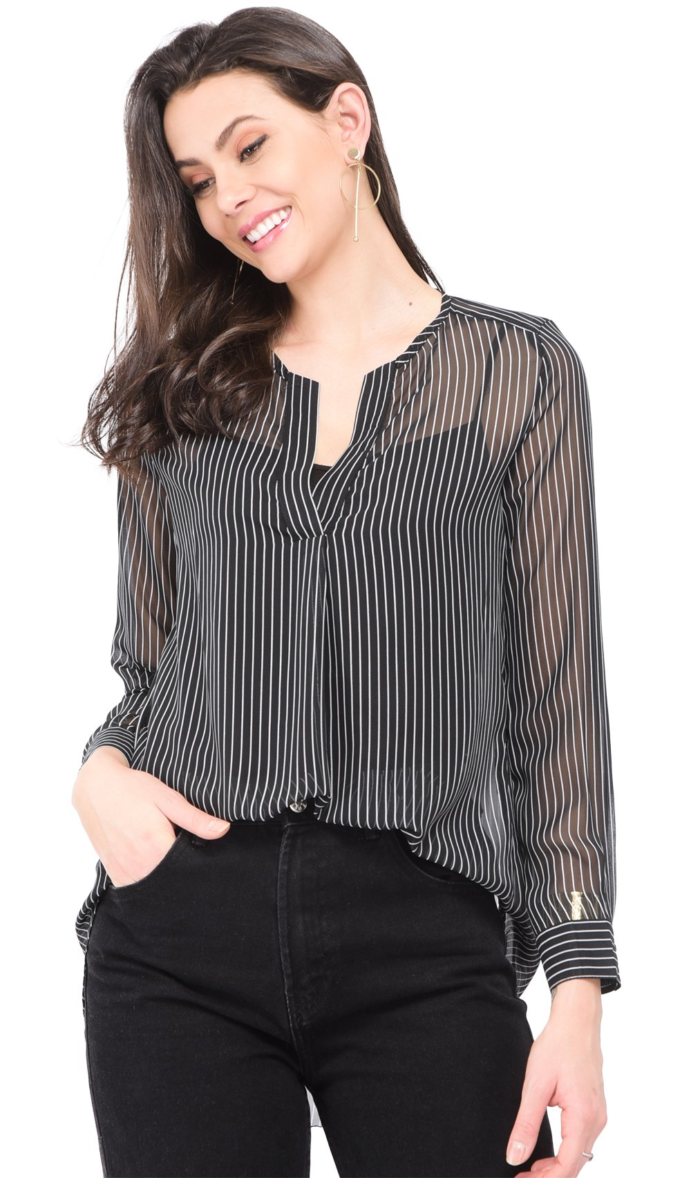 TRANSPARENT BLOUSE WITH TUNISIAN COLLAR AND VERTICAL STRIPES