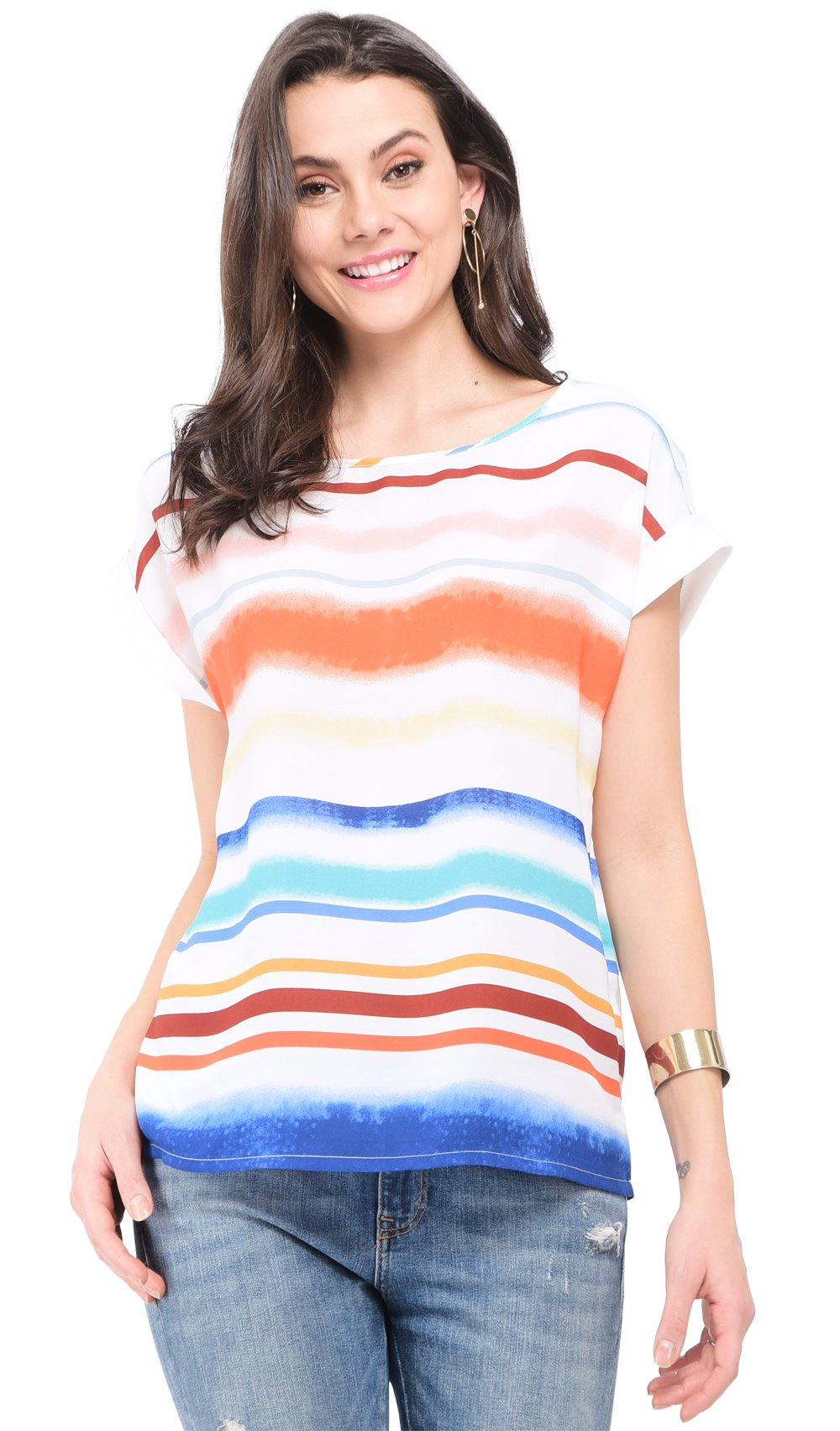 ROUND COLLAR TOP WITH MULTI-COLORS PRINT AND SHORT SLEEVES WITH HEM