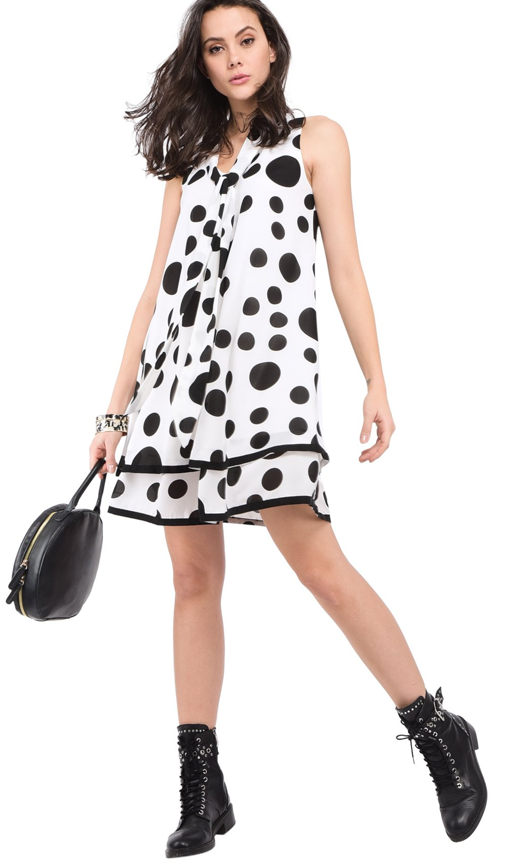 FLUID SHORT RUFFLED DRESS WITH POLKA DOTS PRINT