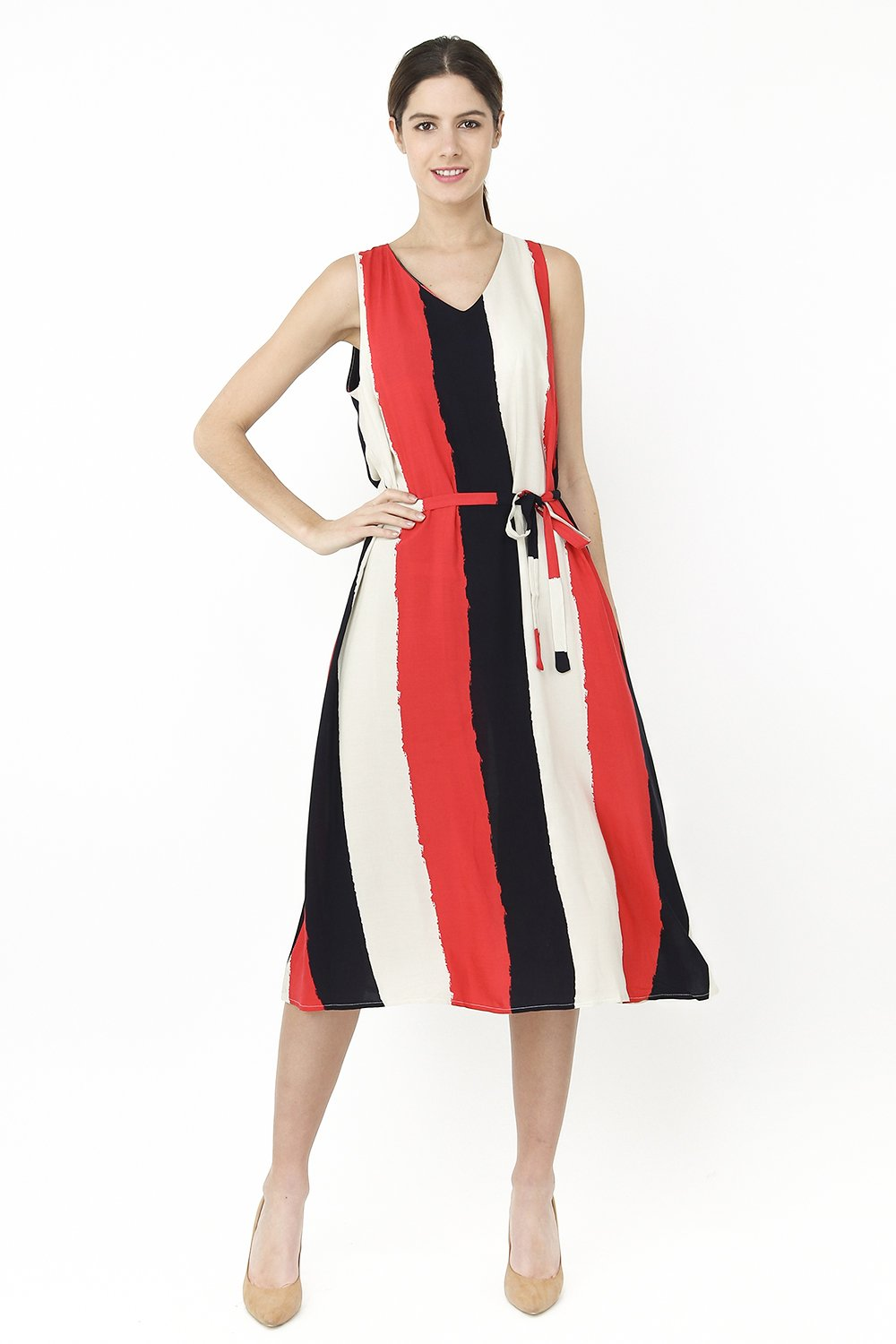 SLEEVELESS TRI-COLORS V-NECK LONG DRESS WITH BELT