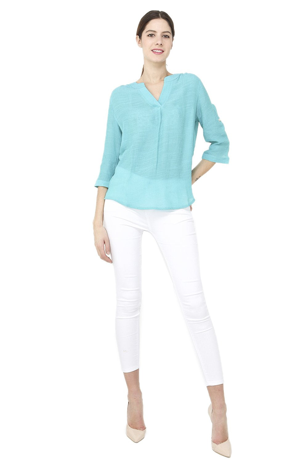 SEMI-TRANSPARENT TOP WITH TUNISIAN COLLAR AND 3/4 SLEEVES