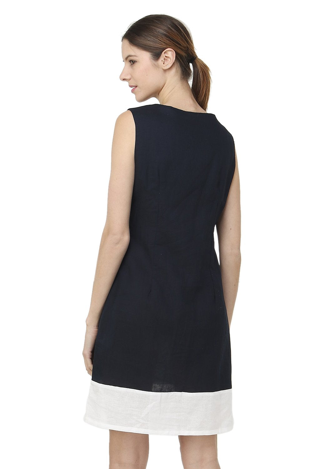 MI-LONG BI-COLORS DRESS WITH ROUND NECK