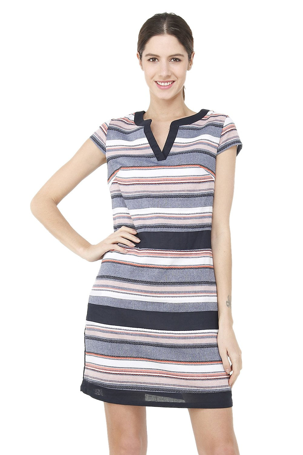 SHORT DRESS WITH TUNISIAN COLLAR AND TRI-COLORS ON THE FRONT