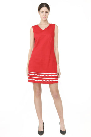 SHORT DRESS WITH V-NECK AND FRONT EMBROIDERY