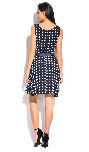 MID-LENGHT DRESS WITH ROUND NECK AND POLKA DOTS PRINT