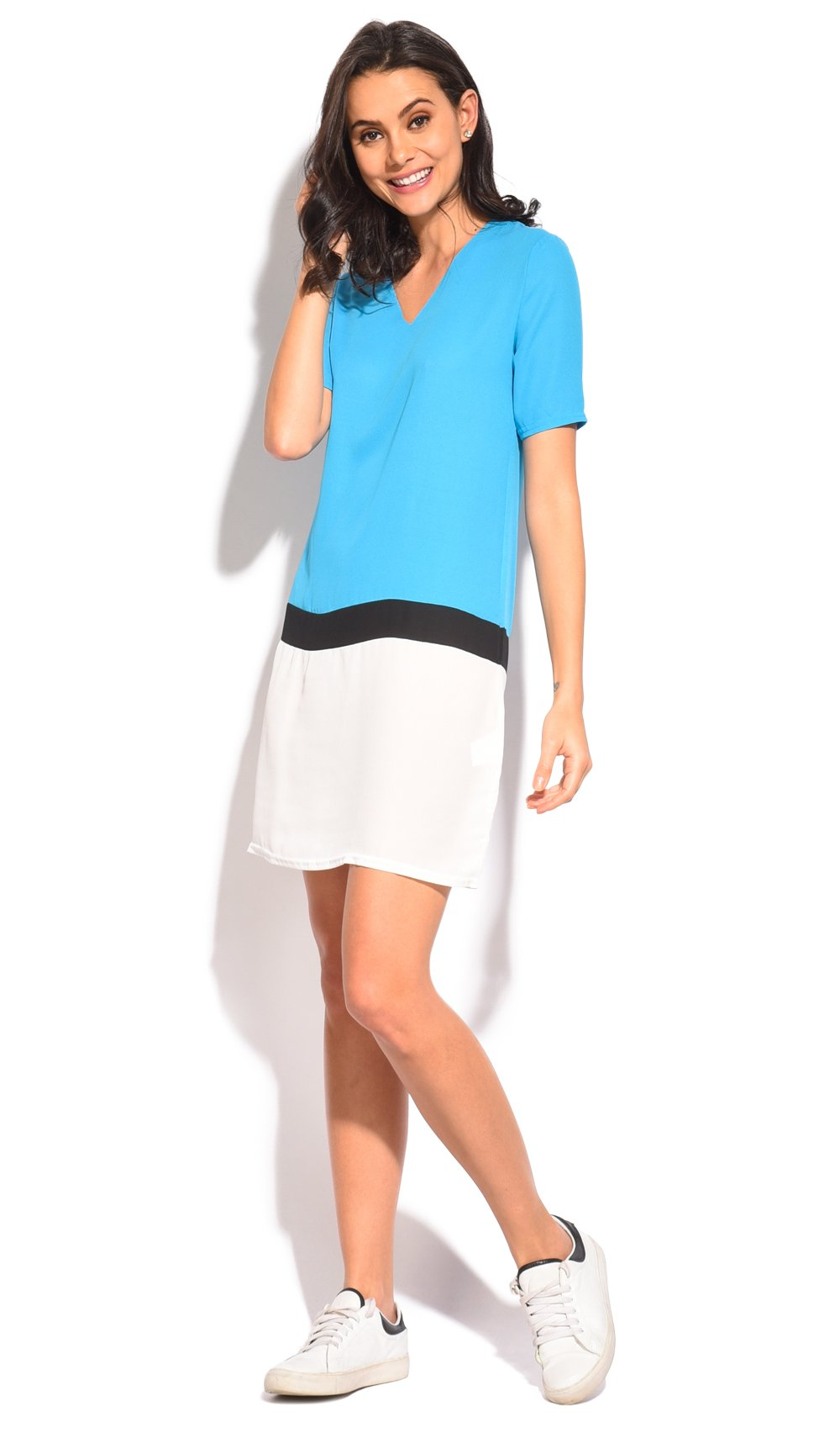 SHORT TRI-COLORS V-NECK DRESS