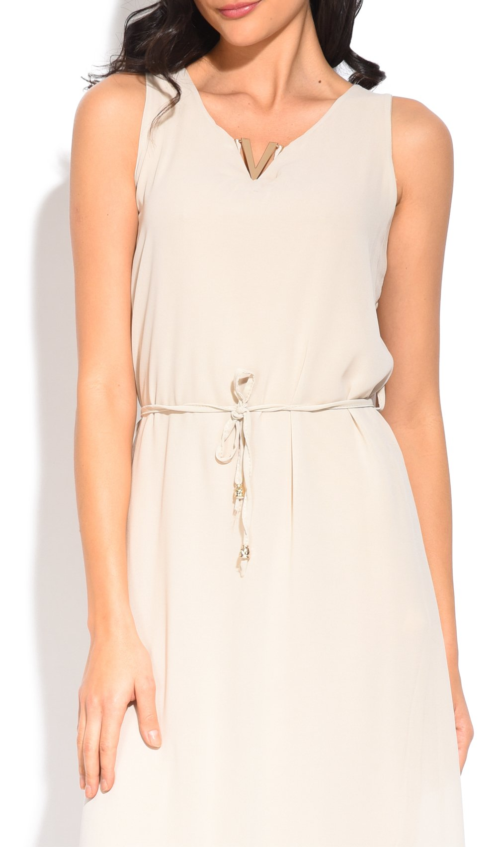 SHORT DOUBLE-LINED DRESS WITH ACCESSORIZED ROUND COLLAR AND BELT