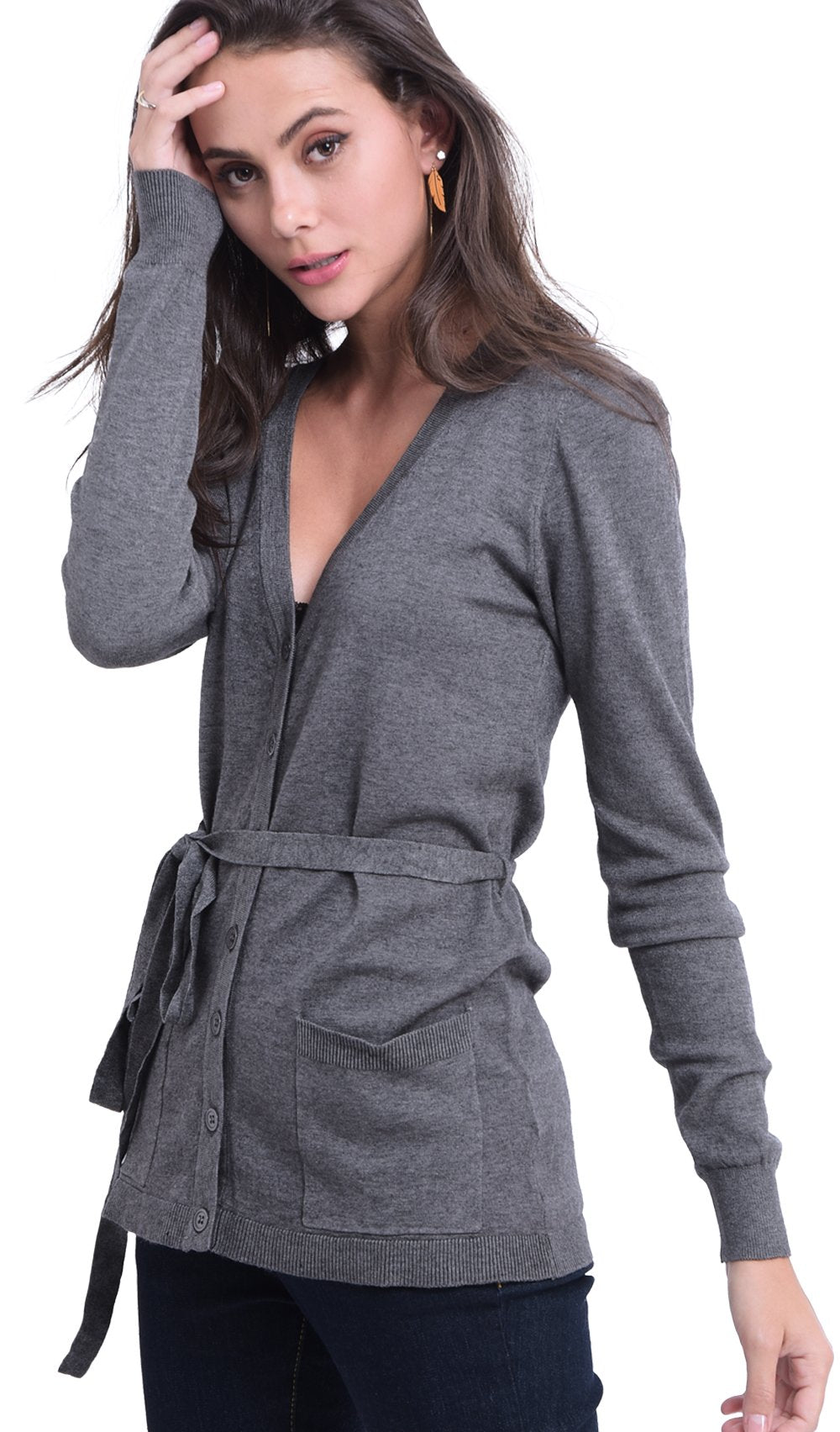 MI-LONG BUTTONED CARDIGAN WITH BELT AND POCKETS