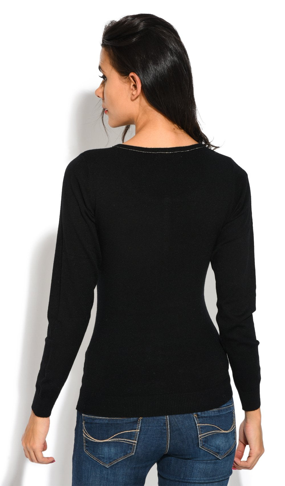 ROUND COLLAR WITH LUREX STITCHING AND BUTTONED SWEATER
