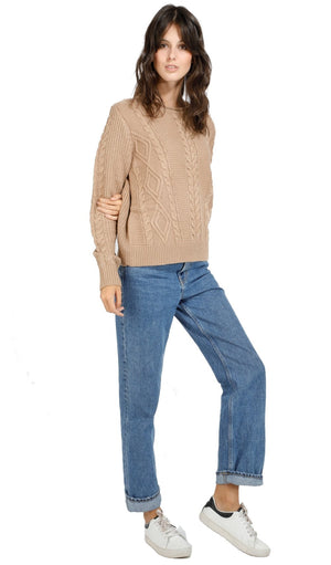 ROLLED ROUND COLLAR TWISTED SWEATER