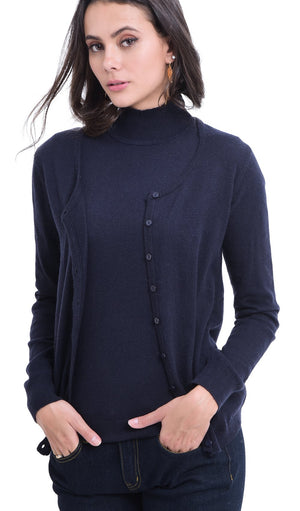 ROUND COLLAR BUTTONED CARDIGAN