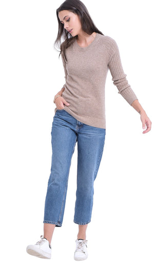 ROUND COLLAR SWEATER WITH RIBBED SLEEVES