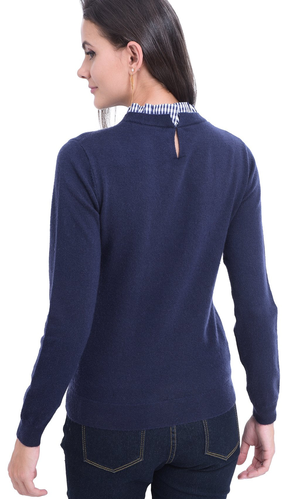 VICHY RUFFLED NECK SWEATER