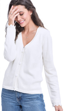 V-NECK CARDIGAN WITH ENGLISH LACE ON SLEEVES