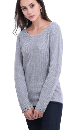 BOAT COLLAR SWEATER WITH OPEN BACK AND ENGLISH LACES