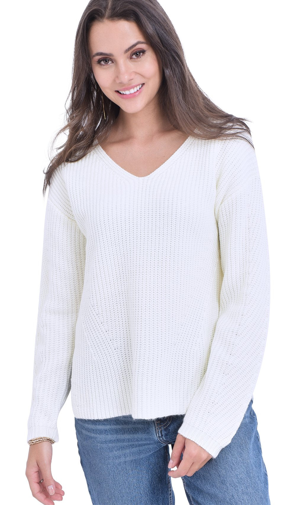 V-NECK SWEATER WITH ENGLISH RIBBING