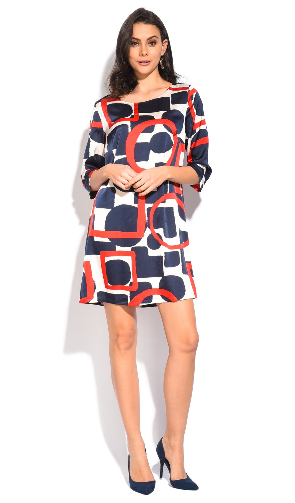 SHORT DRESS WITH TRI-COLORS PRINTED PATTERN AND HALF-SLEEVES