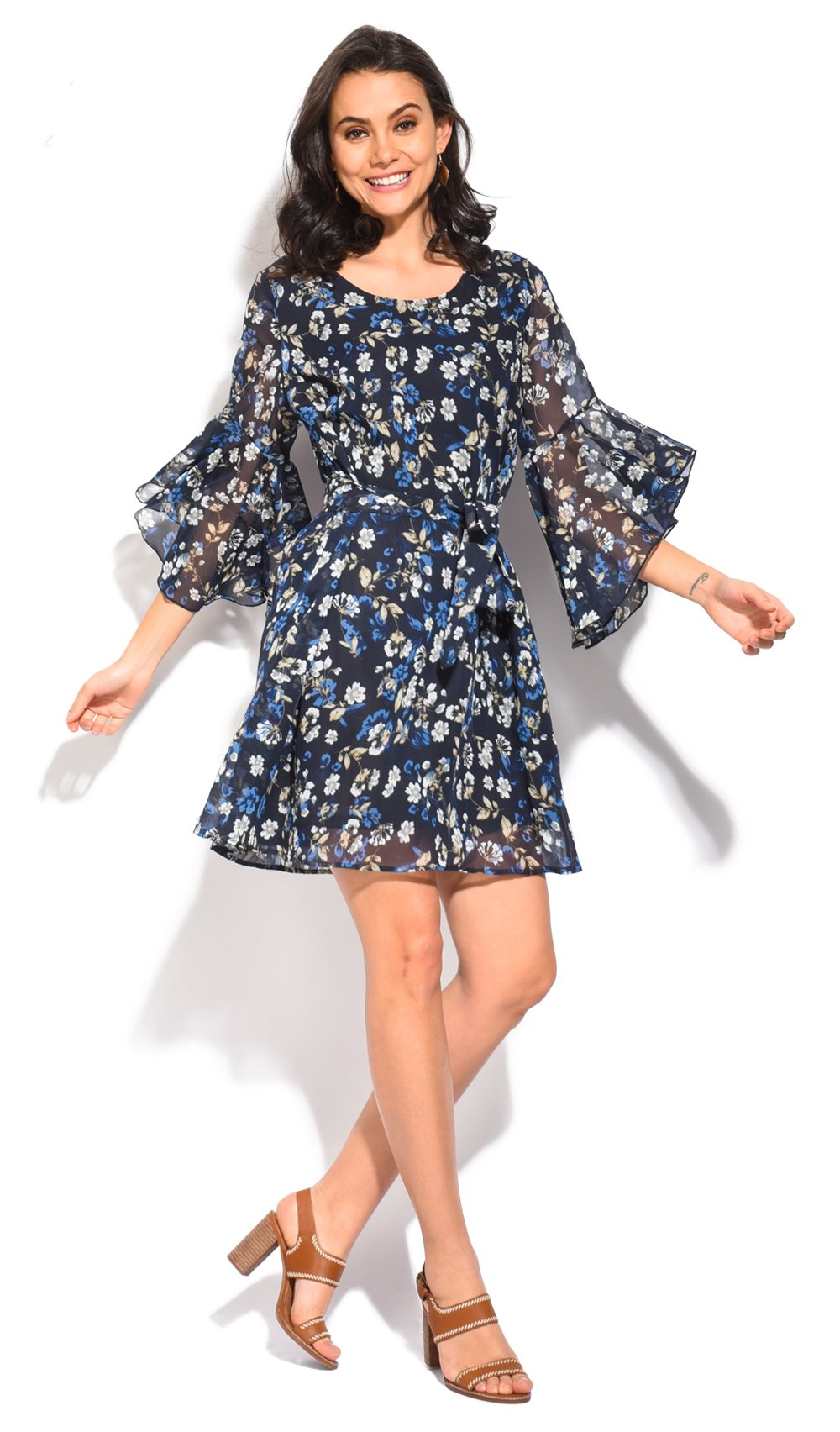 SHORT TRANSPARENT DRESS WITH LIBERTY PRINT AND HALF RUFFLED SLEEVES