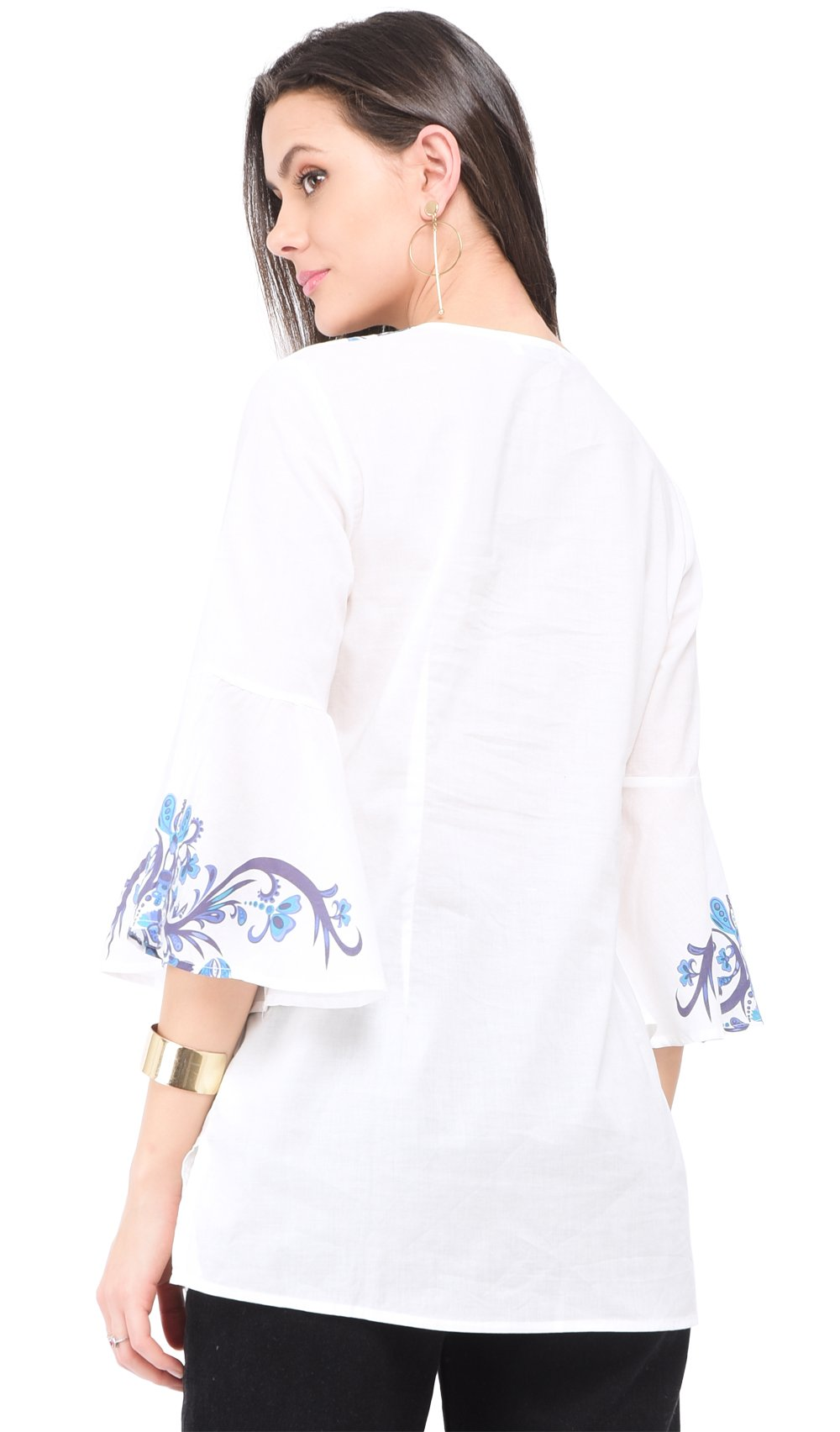 BI-COLORS PRINTED TOP WITH HALF RUFFLED SLEEVES