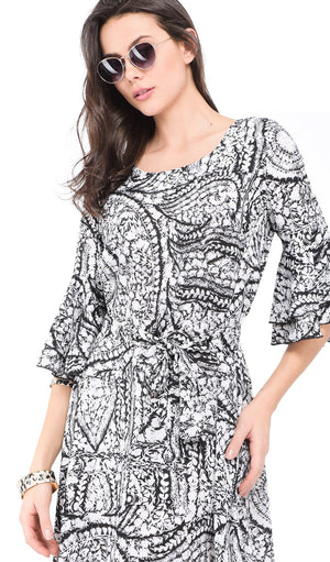 SHORT PRINTED DRESS WITH ROUND COLLAR AND HALF RUFFLED SLEEVES