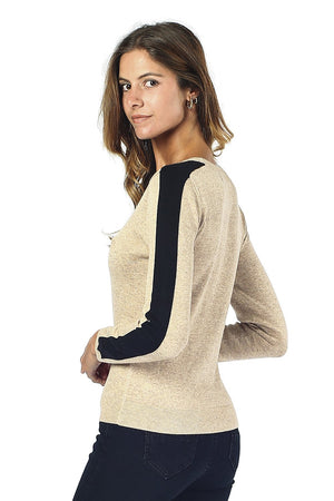 ROUND COLLAR SWEATER WITH STRIPE ON SLEEVES