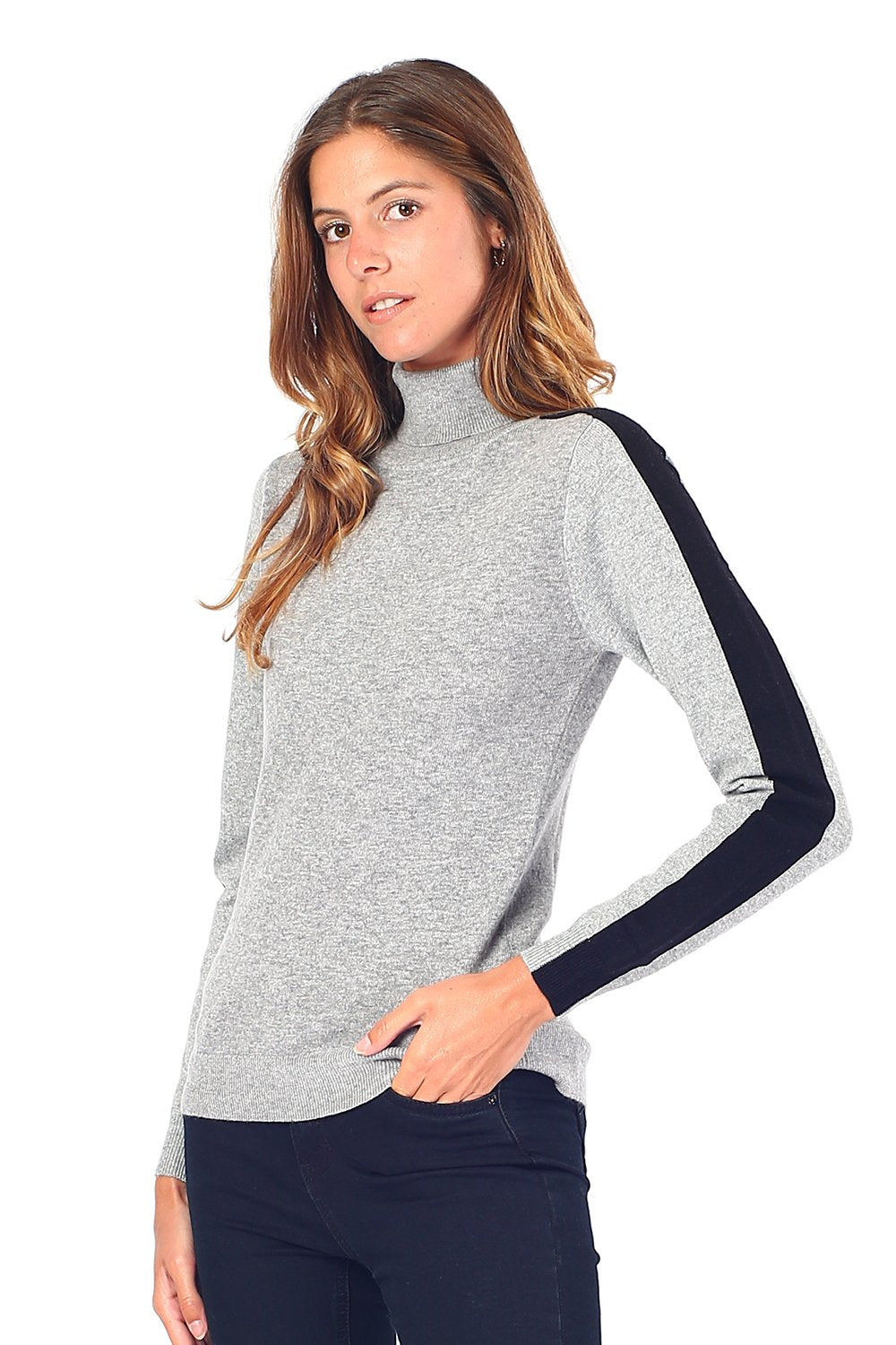 TURTLENECK SWEATER WITH STRIPE ON SLEEVES