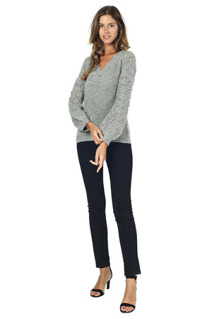 V-NECK SWEATER WITH WITH OPEN SLEEVES