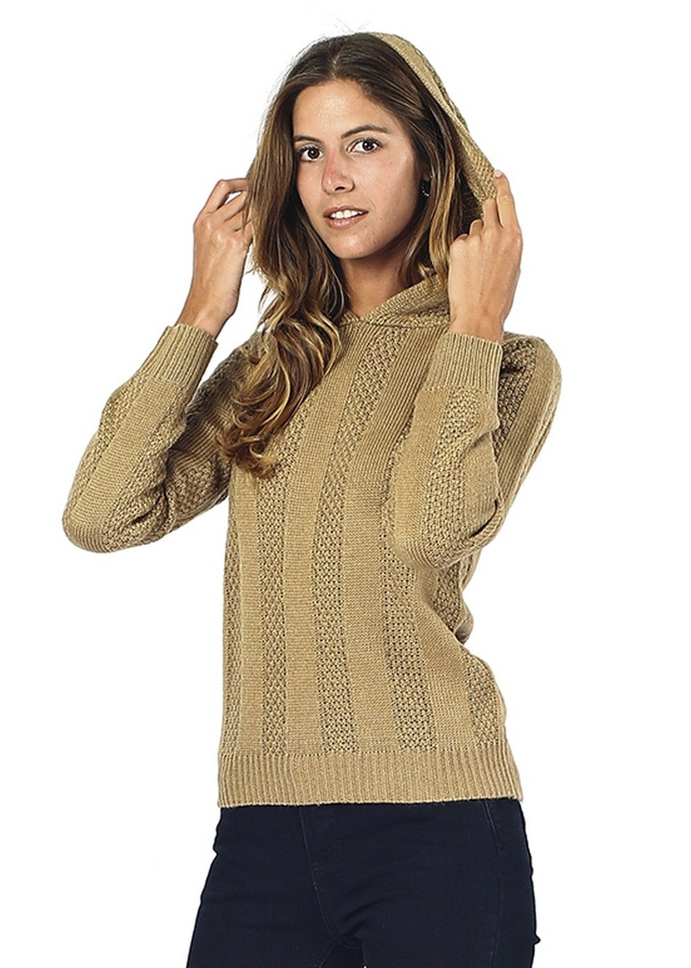 HOODED SWEATER WITH RIBBING