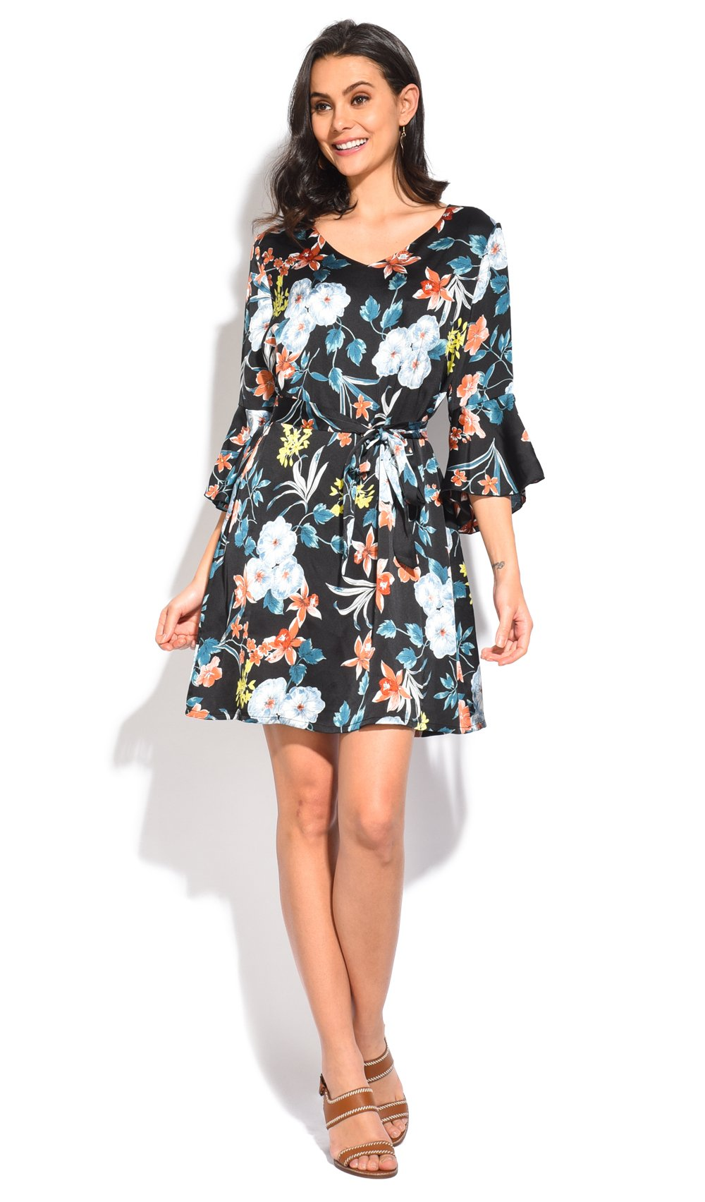 SHORT BELTED DRESS WITH FLORAL PRINT AND HALF RUFFLED SLEEVES