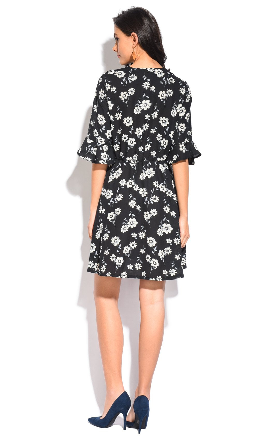 SHORT FLORAL PRINT DRESS WITH BELTED HEART-CACHE AND HALF RUFFLED SLEEVES