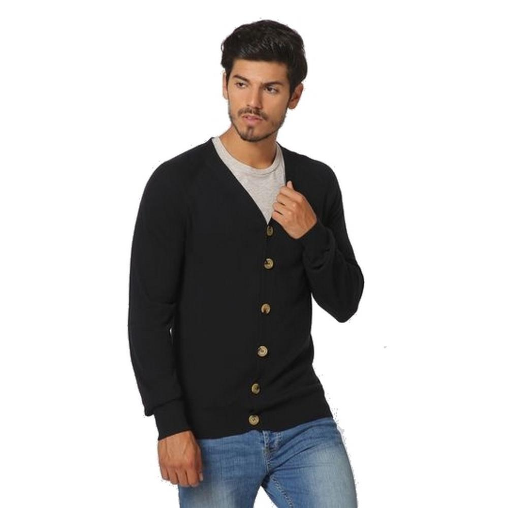 BUTTONED CARDIGAN BI-COLORED INSIDE COLLAR